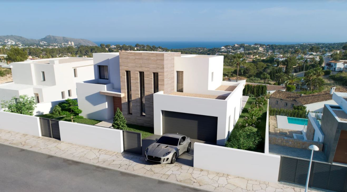 Villa de luxe en construction à vendre à Moraira avec vue sur la mer.